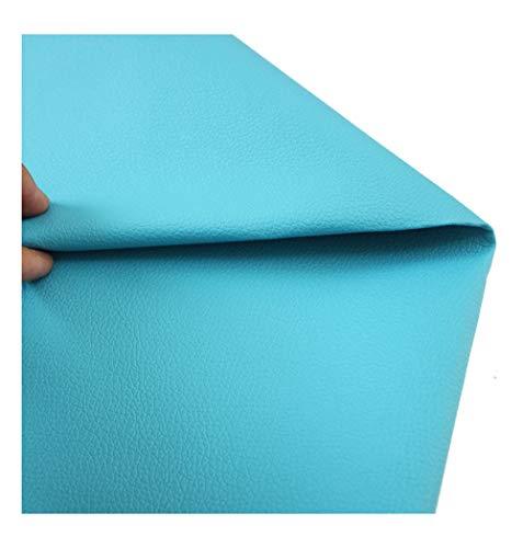 wangk Tela De Polipiel para Tapizar Tejido De Piel Sintética Piel Sintética Eco-Cuero imitación de Cuero Natural para Tapizar Manualidades Cojines O Forrar Objetos Venta -Lago Azul 1.38x6m