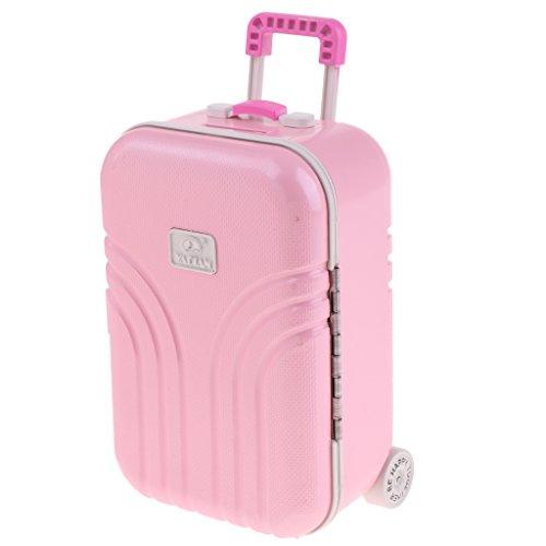 Fenteer 1/6 Mini Koffer Gepäck Hartschalenkoffer Trolley Reisekoffer für Salon, Blythe, BJD Puppen - Pink