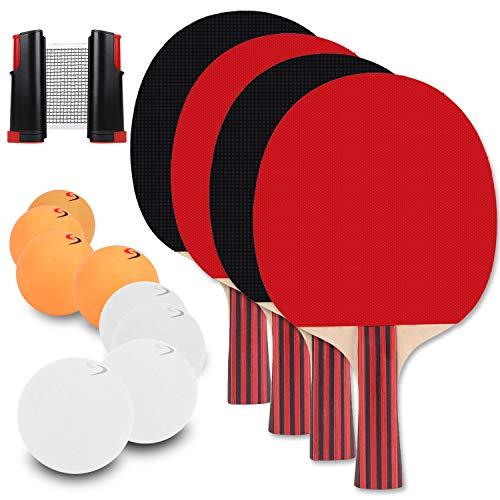 berhaya Tischtennis Set, 2 Paar Tischtennis Paddel mit 1 Tischtennis Netz und 8 Tischtennis Schläger Geeignet Indoor Outdoor für Kinder Erwachsene
