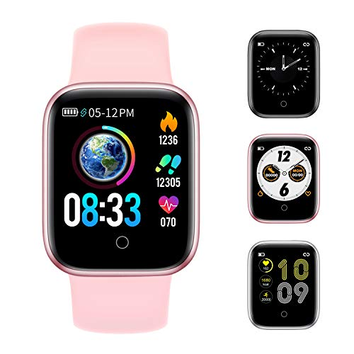 RUNDOING Smart Watch for Android iOS Phones,Fitness Tracker with Sleep/Heart Rate Monitor,Step/Calorie Counter,1.54 inch Screen,IP68 Waterproof Smartwatch for Women Men Girls Pink