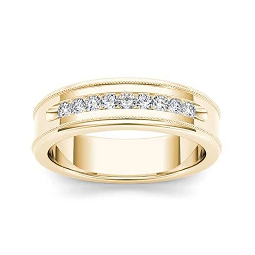 Briljante Ring 14K Geel Vergulde Diamanten Ring Voor Mannen En Vrouwen Mode Eenvoudige Verlovingsring Geschikt Voor Verjaardagscadeautjes,10th