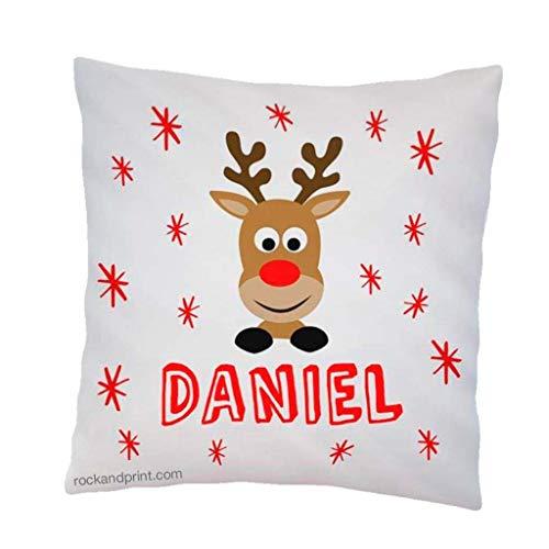 Cojin Navidad reno. 40x40 cm, incluye relleno. Idea original decoración personalizado. Regalo amigo invisible navideño