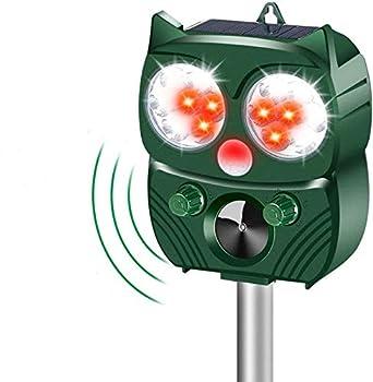 Repulsif Chat Exterieur, Répulsif Animaux Alarme Sonore, Chat Ultrason Chargement étanche Solaire ou USB Ultrason Chat Animaux Nuisibles, pour Chats, Chiens, Renards (Vert)