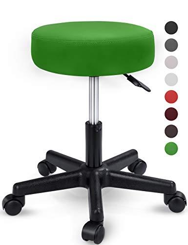TRESKO Rollhocker höhenverstellbar Grün | Drehhocker 10 cm Dicke Polsterung | Arbeitshocker 360° drehbar | Hocker