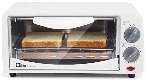Elite Gourmet Personal 2 Slice Countertop 15 Minute Timer Toaster Oven, Broil, Toast, ETO-224