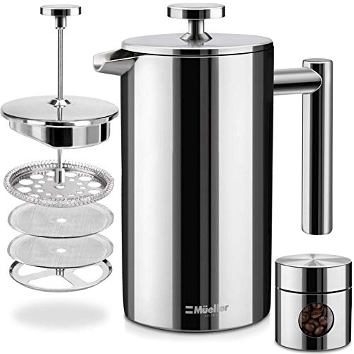 Mueller French Press 20% Heavier Duty Double Insulated 310 Stainless Steel Coffee Maker Multi-Screen System 100% No Coffee Grounds Guarantee, Rust-Free, Dishwasher Safe