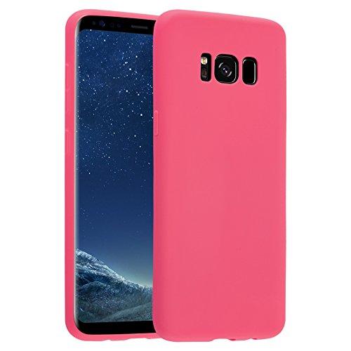 JAMMYLIZARD Cover per Samsung Galaxy S8 Plus | Custodia [Jelly] in Silicone Morbido Ultra Slim Skin Case, Rosso Magenta