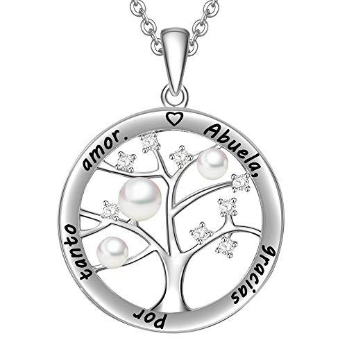 LOVORDS Collar Mujer Grabado Plata de Ley 925 Colgante Árbol de la Vida Familiar Perla Cultivada Blanca de Agua Dulce 3-4mm Regalo Abuela