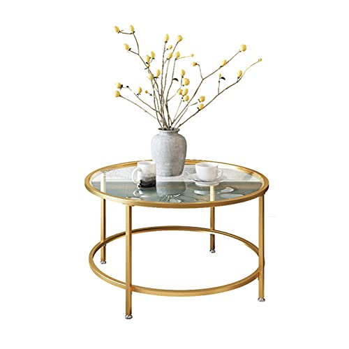 Table Modern Round Tempered Glass Accent Side Coffee For Living Room Dining Room Tea Home Décor With Metal Frame,80x45cm(Color:Gold)