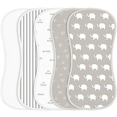 Amazon - Save 50%: Babebay Burp Cloths for Baby Boys and Girls – Elephant Design – 5 Pack…