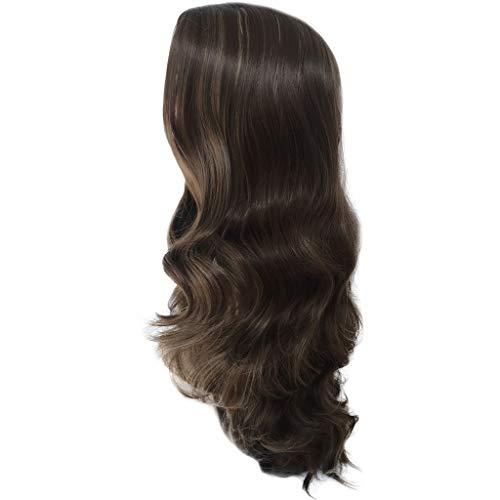 Amphia - Art und Weise synthetische braune Lange lockige Haarperücke gewellte natürliche Haarperücken für Frauen