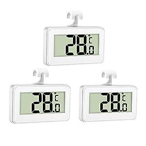 Thlevel 3X Thermomètre de Réfrigérateur Thermomètre Numérique Congélateur Thermomètre Refrigerateur Chambre Thermomètre Congélateur Imperméable avec Écran LCD avec Crochet pour Lecture de Température