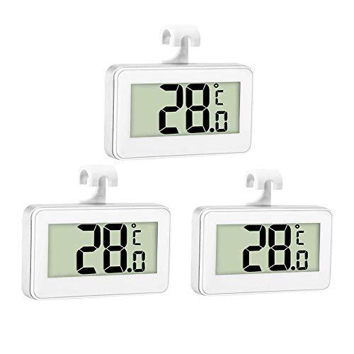 Thlevel 3x Kühlschrank Thermometer Digital Gefrierschrank Thermometer Zimmer Kühlschrank Thermometer LCD Anzeige Wasserdicht Gefrierschrank Thermometer mit Haken zum Ablesen der Temperatur