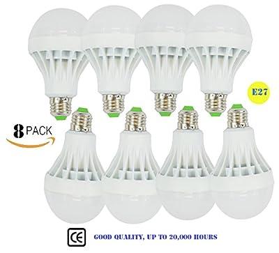 Tiandi Led Bulb Lamp Light 110V Energy Saving ,3W,5W,7W,9W,12W , Cool White, Light Bulb, LED Light Bulbs, Not Dimmable, E27 Base, Pack of 8 Units