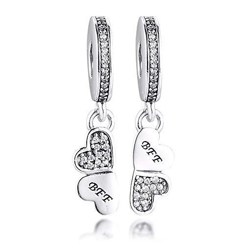 Bakcci - Ciondolo 'Best Friends Forever' in argento Sterling 925,adatto per braccialetti Pandora e altri tipi di gioielli