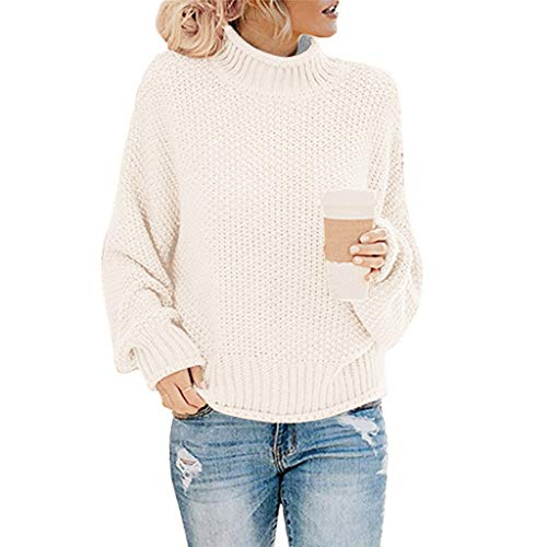 WOCACHI 2020 Winter Sale Womens Turtleneck Knit Sweater, Christmas Chunky Cowl Neck Knitted Crochet Wrap Patchwork Pullover Jumper 2020 Spring Fashion Pull Ladies Warm Solid Color Newest Arrival