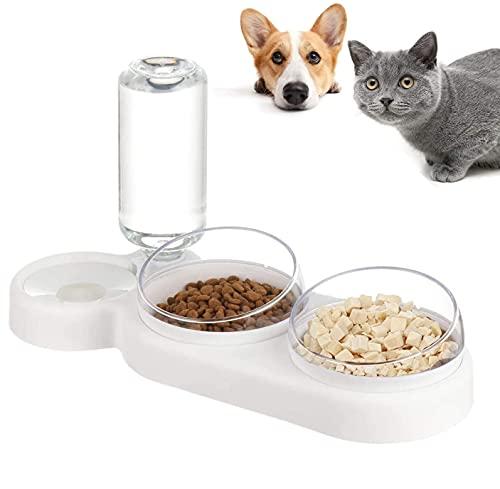 auvstar 3in1 Katzennäpf Hundenäpf,Futterschüssel Katze Hunde und Trinknapf,Futterstation für Katzen und Hunde,15° Geneigte Haustier Fressnapf für Nass und Trockenfutter oder auch Leckerlis (Weiß)