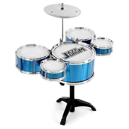 jaspenybow Kinder Schlagzeug Set 5-teilig Einsteiger Schlagzeug Set Trommel Becken Musik Spielzeug Instrument Jazz Drum Percussion Instrument Early Education-Puzzle für Kinder ab 3 Jahren blau