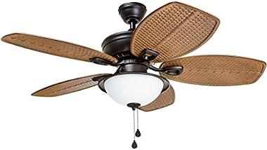 Harbor Breeze Cedar Shoals 44-in Oil Rubbed Bronze Indoor/Outdoor Ceiling Fan with Light Kit