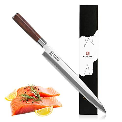 Sushi Knife, KEEMAKE Japanese Sashimi Chef' Fillet Single Bevel Yanagiba Knife Slicing Meat and Fish - VG10 2-Layer Ply Steel Blade with Brazilian Pear Wood Handle