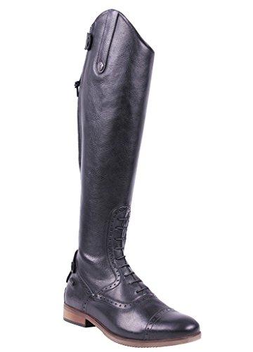 QHP Damen Leder-Reitstiefel Sophia Weite Wadenweite Größe 36-42 (39, Schwarz)