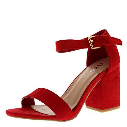 Viva dames brede midden blokhak suède enkelriem casual schoenen sandalen