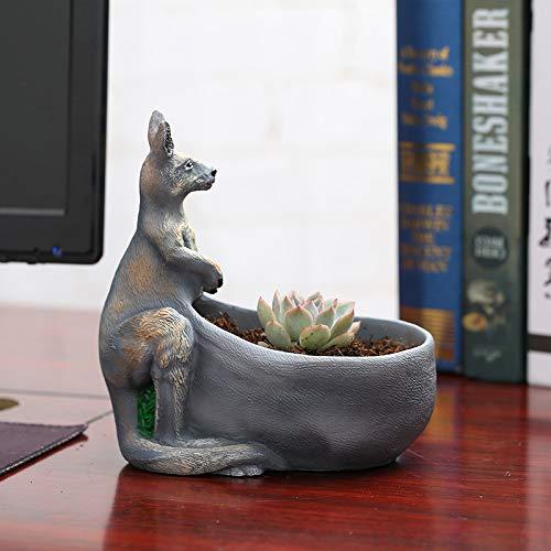 Skulpturen Statuen Dekoartikel Känguru Kreative Polyporous Pflanze Blumentopf Harz Indoor Pot Technologie Anordnung, A, 17 * 9,8 * 18 cm