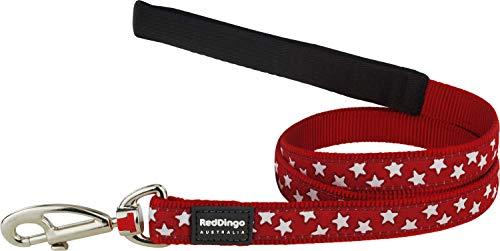Red Dingo Hundeleine Komfort für Hunde rot Etoiles weiß 1,20x 12mm