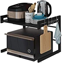 JND Microondas Digitales Horno Microondas Horno de Carro Extensible de Acero al Carbono preparación en la Cocina Estante, 2 Niveles, con 3 Ganchos, 36-57cm Ajustable Horno de microondas Manual