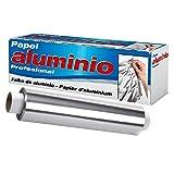 Papel aluminio cocina 【40cm x 200m 13 micras】gran maleabilidad sin roturas, rollo profesional ideal para dispensador papel aluminio y film, envase resistente con sierra de cierre