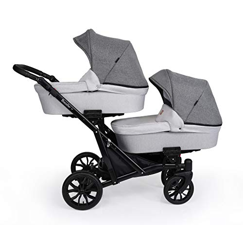Booster Light Kinderwagen Zwillingswagen Geschwisterwagen by Lux4kids Grey Jeans 01 3in1 mit Babyschale