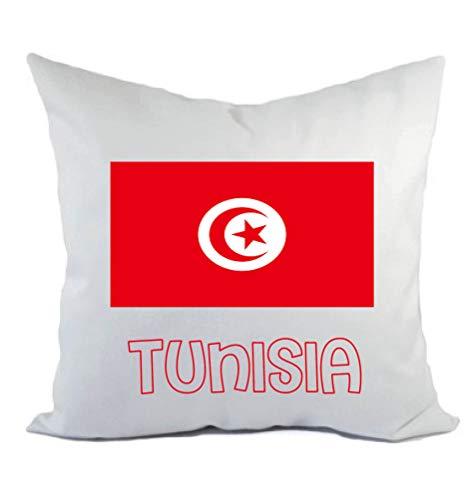 Typolitografie Ghisleri kussen wit Tunesië met vlag kussensloop en vulling 40 x 40 cm van polyester