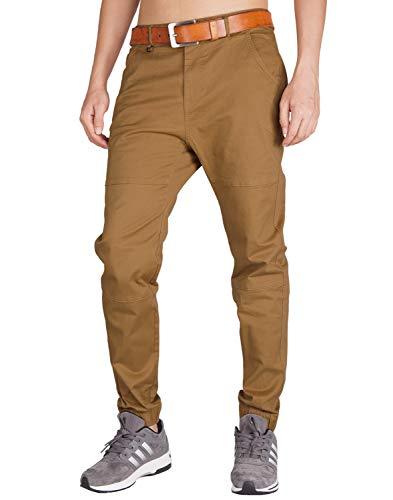 ITALYMORN Hombre Jogger Chinos Slim Fit Marron Pantalones Stretchy (36, Marrón)