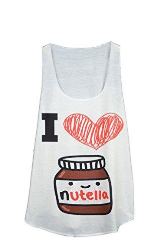 GL BOUTIK I Love Nutella Text Summer Vest TOP - Tank TOP - Unique Size - Tank-top Sieht - Unterhemd