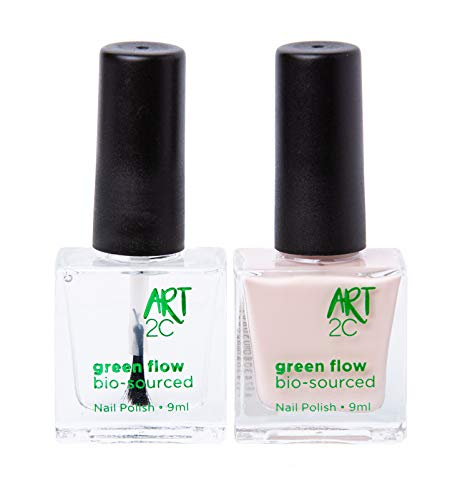 Art 2C 85 % Bio-sourced Vegan Double-Patented Ultra-Pure Nail Polish - veganer, ultra-reiner Nagellack, zu 85 % auf biologischer Basis, 2er-Pack, 2 x 9 ml - 1 Grundierung/Decklack + 1 Hautfarbe