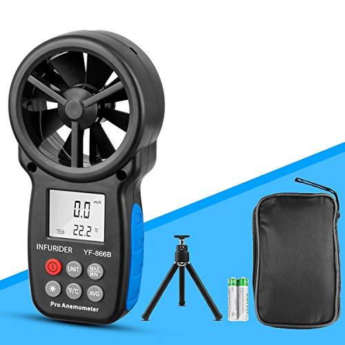 INFURIDER Digital Anemometer Windmesser YF-866B LCD Wind Speed Meter Gauge Air Flow Geschwindigkeit mit Hintergrundbeleuchtung messung Thermometer für Windsurfen Segeln Angeln Drohnenflug