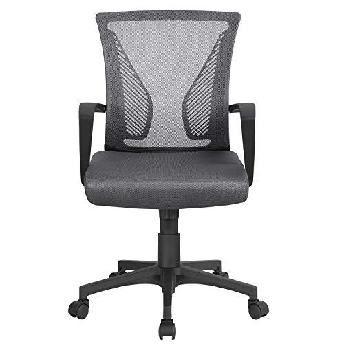 Yaheetech Bürostuhl Bürodrehstuhl höhenverstellbarer Drehstuhl mit Netzrückenlehne Sportsitz Computerstuhl