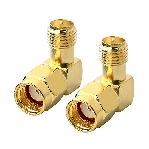 BOOBRIE 90 Degree Reverse Polarity SMA Coax Adapter RP SMA Male (Hole) to RP SMA Female (Pin) Right Angle Connector RP-SMA to RP-SMA Adapter for Audio FPV Drone Antennas Radio Video Mobile Pack of 2