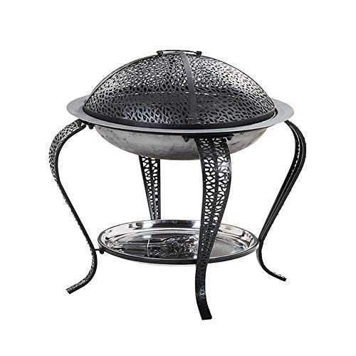 ZDYLM-Y Outdoor Fire Pit, Patio Fire Steel BBQ Grill Fire Pit Bowl with Mesh Spark Screen Cover, for Camping Picnic Bonfire Patio Backyard Garden