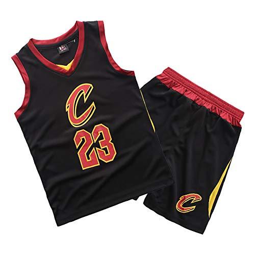 Maglie da basket per bambini 23# LeBron James Cleveland Cavaliers Gilet manica corta da ragazzo vintage Uniforme da basket per bambini Camicie-black-S