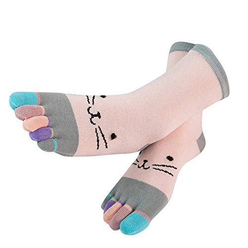 N-B Calcetines Cinco Dedos Mujer Dibujos Gato Divertidos Algodón Deporte Suave y Transpirable Colores del Arcoiris Primavera Invierno Calcetines Largos