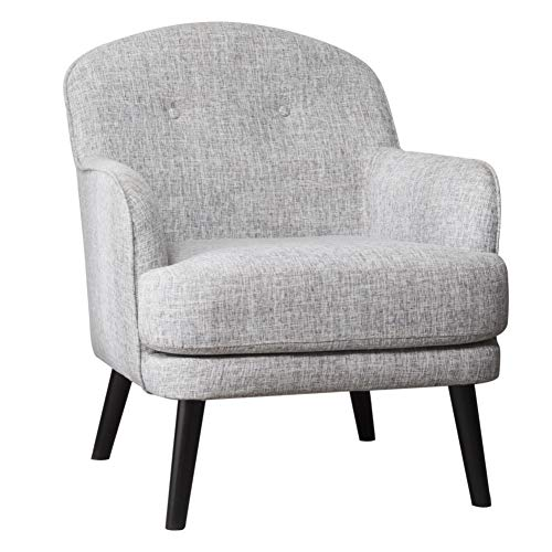 Warmiehomy Armchair Linen Fabric Arc-shaped Back Occasional Tub Chair for Living Room Bedroom Lounge Office Sofa Chair (Silver Grey)