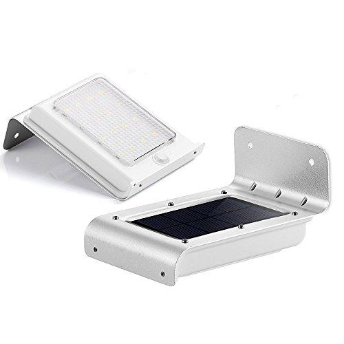 LIVHÒ - 16 LED focos para exterior pared, Faretto con 16 LED da parete con Sensore crepuscolare, Alimentazione con Pannello Solare, senza fili, Batterie ricaricabili e Tasselli per il Fissaggio inclusi, resistente al agua