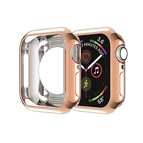 MroTech Cover Compatibile con Apple Watch 40 mm Custodia TPU Case Protettiva Thin Fit Cover per iWatch 40mm 4 5 Serie Protezione Flessibile Custodia Bumper Shell Protector Anti-Graffio,Rosegold