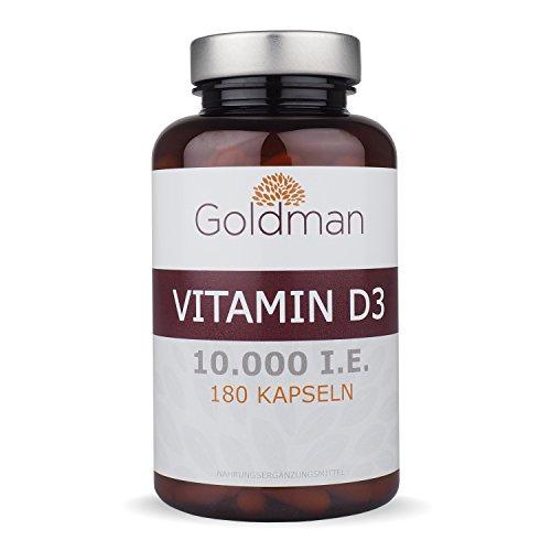 Goldman Vitamin D3 • 180 Kapseln hochdosiert mit 10.000IE • Vegan, laktosefrei, glutenfrei,...