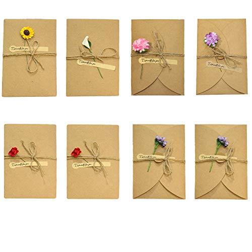 Lot de 8 cartes postales vintage, 17,5 x 11 cm, fleurs séchées décorées, cartes postales avec enveloppe, faites à la main rétro en papier kraft pour carte d'anniversaire, fête des mères, cartes, etc.