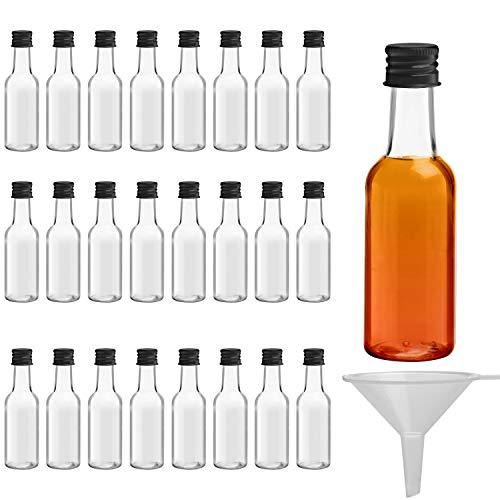 BELLE VOUS Mini Botellas de Licor (Pack de 24) - Botellas Pequeñas de Plástico 50ml Vacías - Tapa Negra de Rosca y Embudo - Botellas Reutilizables, Fácil Llenado - Mini Botella para Bodas y Fiestas