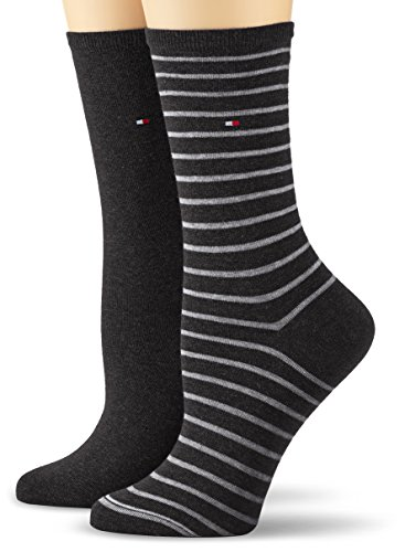 Tommy Hilfiger Damen TH Women SMALL Stripe 2P Socken, Schwarz (Black 200), 39/42 (2er Pack)