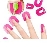 QLJ 26 Unids/Lote Nail Polish Edge Anti-Flooding Plastic Template Clip Manicure Tools Set Gel Nail Art Tool - Rosy
