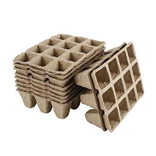 ZYCX123 Semilla de Arranque bandejas de Fibra macetas biodegradables de plántulas macetas de siembra Bandeja 12 Grids for Jardín Balcón Cubierta al Aire Libre 10PCS Productos para el Hogar